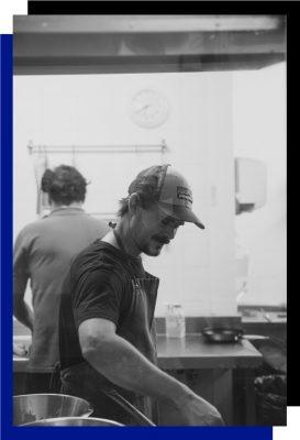 ladravaca chef azul y negro